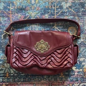 ISABELLA FIORE BURGUNDY ABBY PLEATED FLAP PURSE